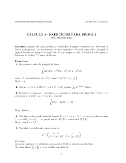 Material e Exercicios para Prova - Instituto de Matemática