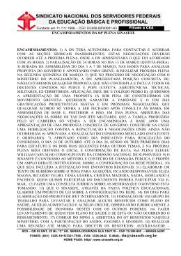 Deliberações da 84ª PLENA DO SINASEFE