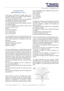 Exercícios de Física Eletromagnetismo – Lista 2
