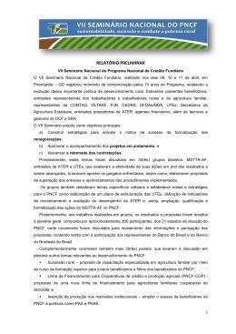 Relatório Preliminar VII Seminário do PNCF