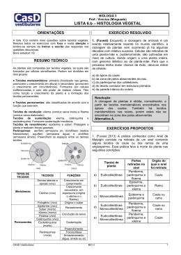 Lista 6.b - Histologia Vegetal