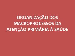 Organização dos Macroprocessos da APS