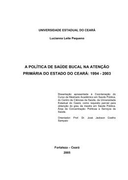 A POLÍTICA DE SAÚDE BUCAL NA ATENÇÃO PRIMÁRIA
