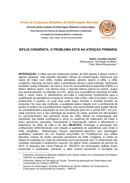 sifilis congênita: o problema está na atenção primária - Abenfo-CE