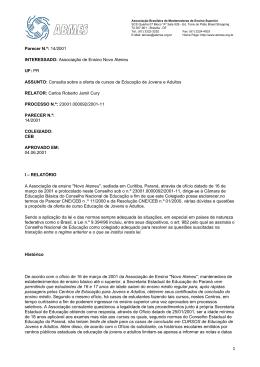 Parecer N.º: 14/2001 INTERESSADO: Associação de Ensino Novo