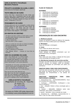 Academia da Alma 1 ORGANIZAÇÃO DE CADA