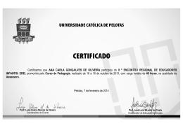 Certificamos que ANA CARLA GONÇALVES DE