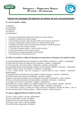 Português – Professora Raquel 8ª série / 3º trimestre
