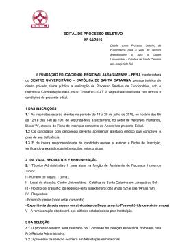 edital de processo seletivo nº 54/2015