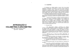INTRODUÇÃO À VOLUMETRIA E GRAVIMETRIA
