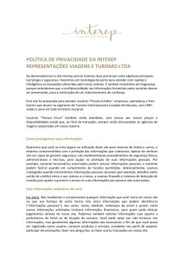 POLÍTICA DE PRIVACIDADE DA INTEREP REPRESENTAÇÕES