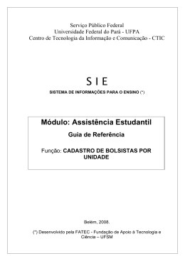 Serviço Público Federal - UFPA SIE