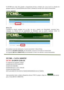 ITCMD – CAUSA MORTIS FICHA DADOS GERAIS
