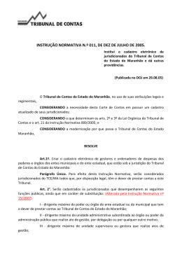 INSTRUÇÃO NORMATIVA N.º 011, DE DEZ DE JULHO