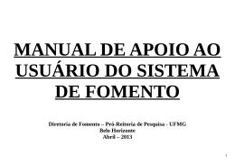 MANUAL DE APOIO AO USUÁRIO DO SISTEMA DE FOMENTO
