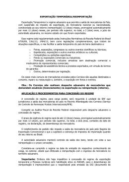 EXPORTAÇÃO TEMPORÁRIA/REIMPORTAÇÃO