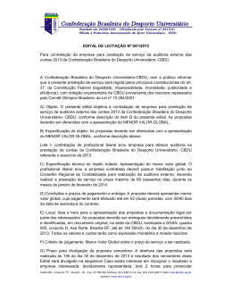 EDITAL DE LICITAÇÃO Nº 041/2013 Para contratação de