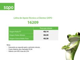 Linha de Apoio Técnico a Clientes SAPO 16209