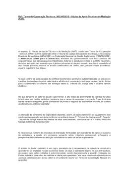 Ref.: Termo de Cooperação Técnica n. 000.045/2015 – Núcleo de