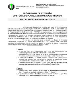 Edital PROEX/PROINEX – 011/2015