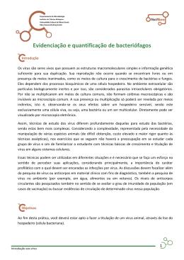 Evidenciação e quantificação de bacteriófagos