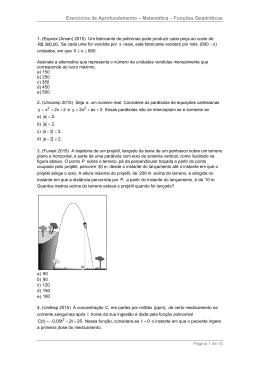 lista de funções quadráticas