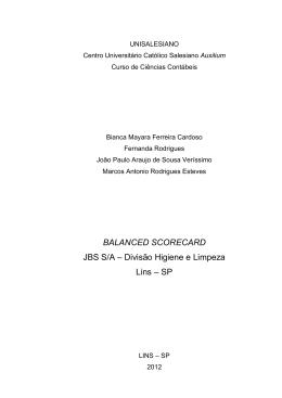 BALANCED SCORECARD JBS S/A – Divisão