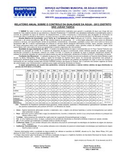 serviço autônomo municipal de água e esgoto relatório anual sobre