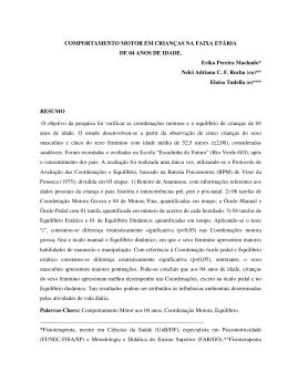 COMPORTAMENTO MOTOR EM CRIANÇAS NA FAIXA ETÁRIA DE
