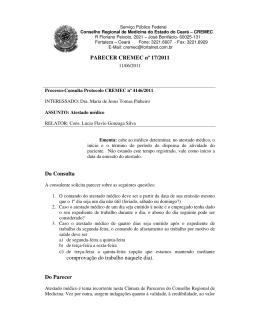 PARECER CREMEC nº 17/2011 Da Consulta comprovação do