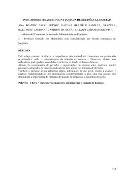 INDICADORES FINANCEIROS NA TOMADA DE DECISÕES