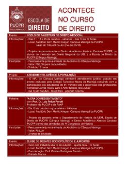 Evento: I CICLO DE PALESTRAS DE DIREITO NEGOCIAL