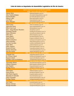 Lista de todos os deputados da Assembléia Legislativa do