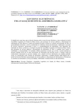 Governo eletrônico: uma avaliação do site da Assembléia
