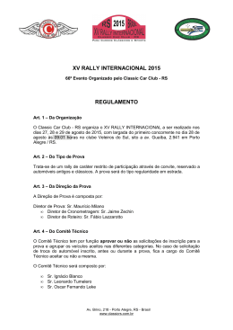 xv rally internacional 2015 regulamento - classic car club