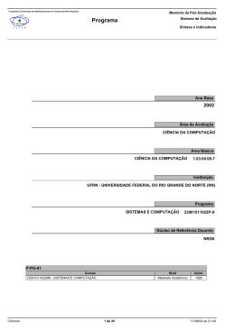 Programa de Pós-Graduação em Sistemas e Computação