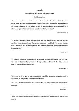 """""""LIVROS QUE FIZERAM HISTÓRIA"""", SANTILLANA Opiniões de"""