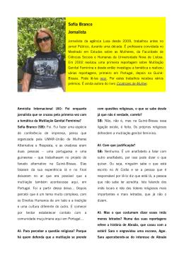 Sofia Branco Jornalista - Amnistia Internacional