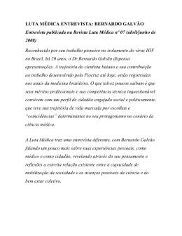LUTA MÉDICA ENTREVISTA: BERNARDO GALVÃO - sindimed-ba