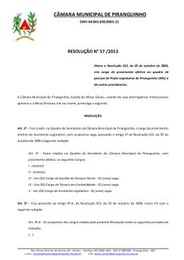 PROJETO DE RESOLUÇÃO N° - Câmara Municipal de Piranguinho