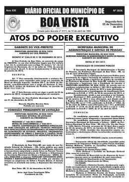 dom nº 3836.indd - Prefeitura Municipal de Boa Vista