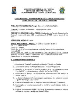 Pontos de Terapia Ocupacional - Universidade Federal da Paraíba