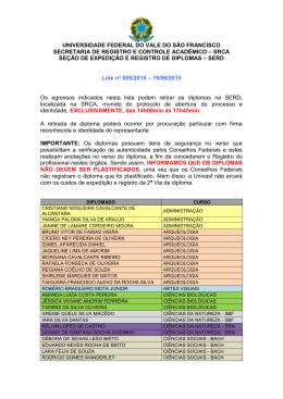 Lote 05/2015 - SRCA