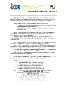 Regulamento de Árbitros CBX – 2015