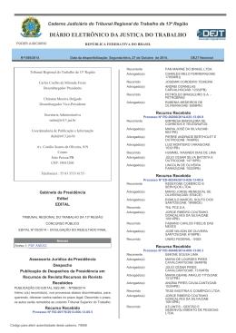 Edital - Tribunal Regional do Trabalho 13ª Região