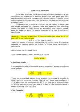 Prática 5 - Calorimetria Até o final do século XVIII haviam