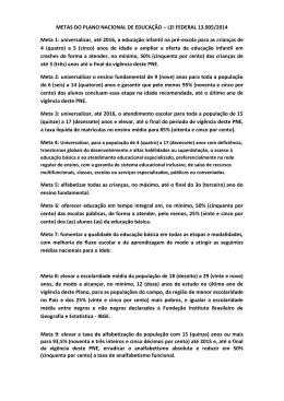 METAS DO PLANO NACIONAL DE EDUCAÇÃO – LEI FEDERAL