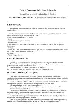 Modelo – Roeteiro Anamnese psicopatológica adulto