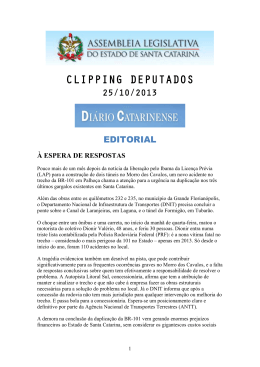 clipping deputados - Assembleia Legislativa do Estado de Santa