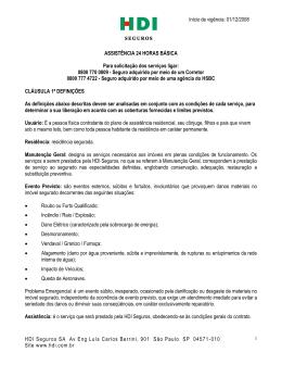 Assistência 24h HDI Residência BÁSICA até 31/01